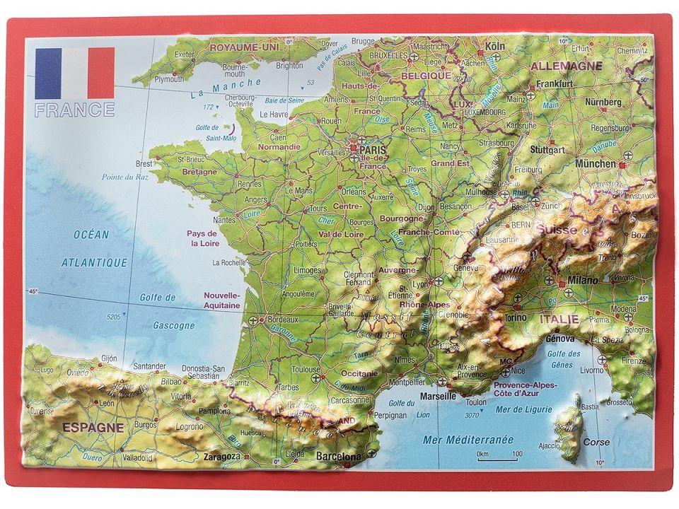 Topographic Map France.Craenen Georelief