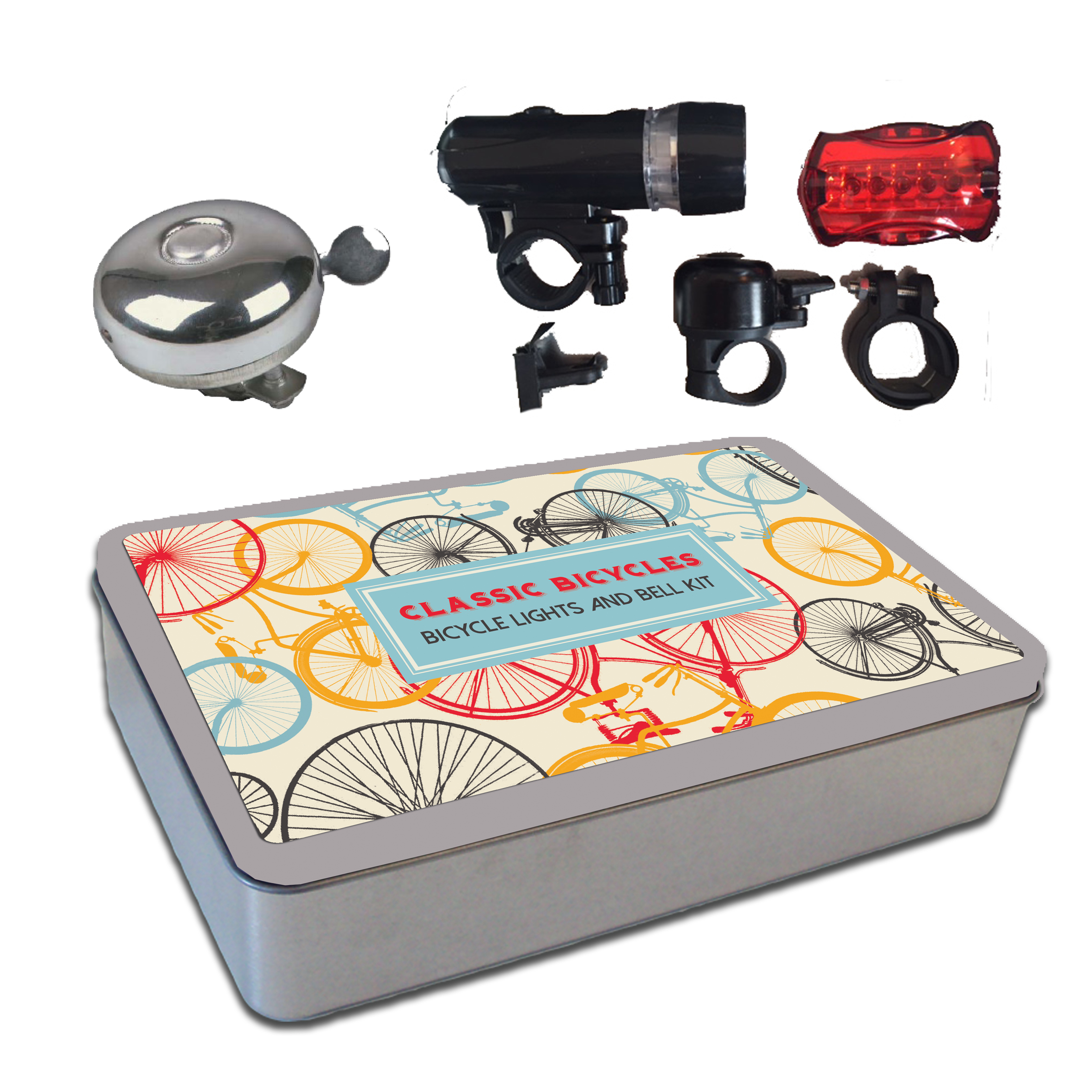 Bike lights & bell kit in a tin