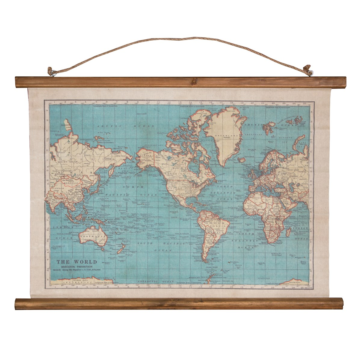 World map canvas World Vintage Map