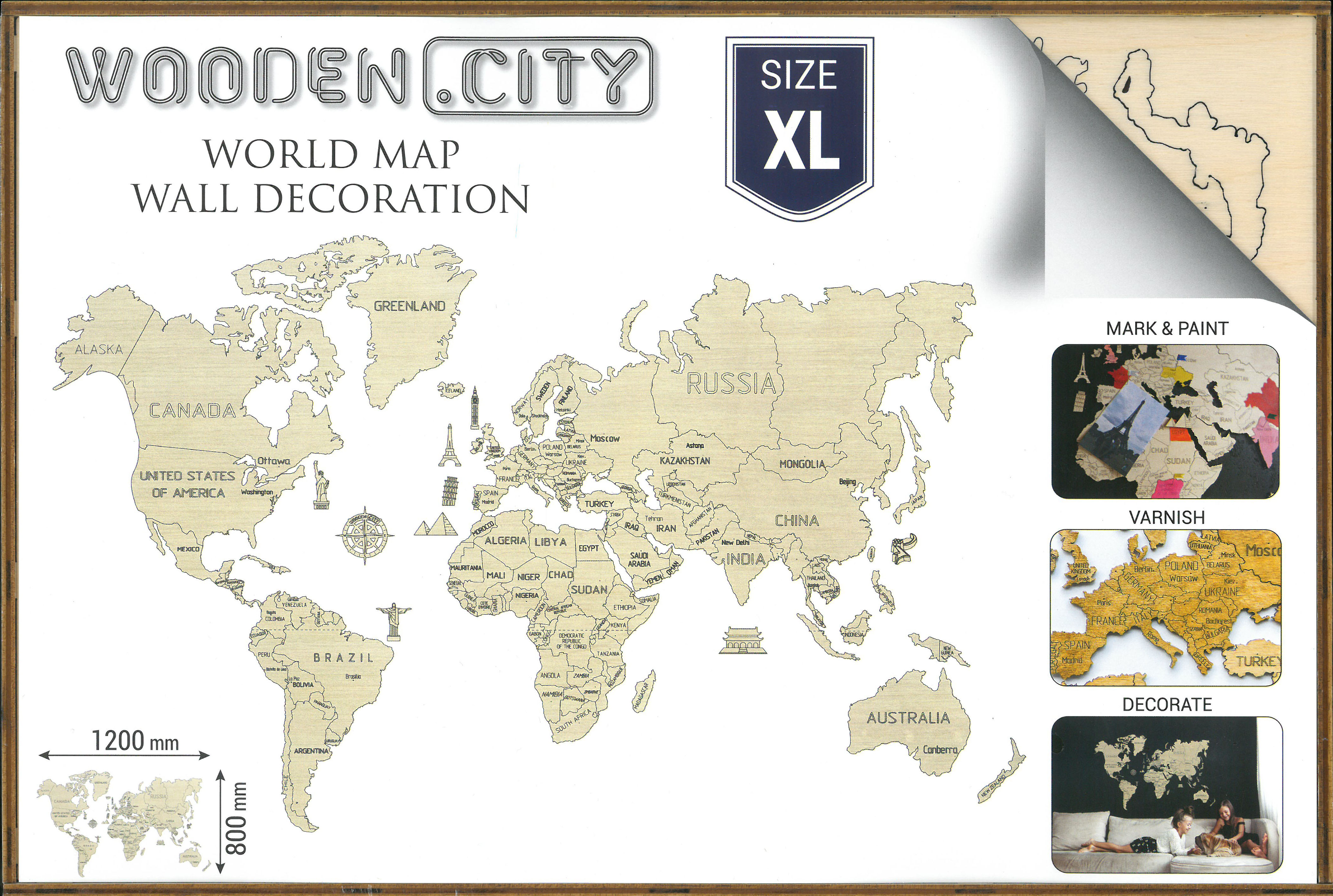 XL World map 3D box