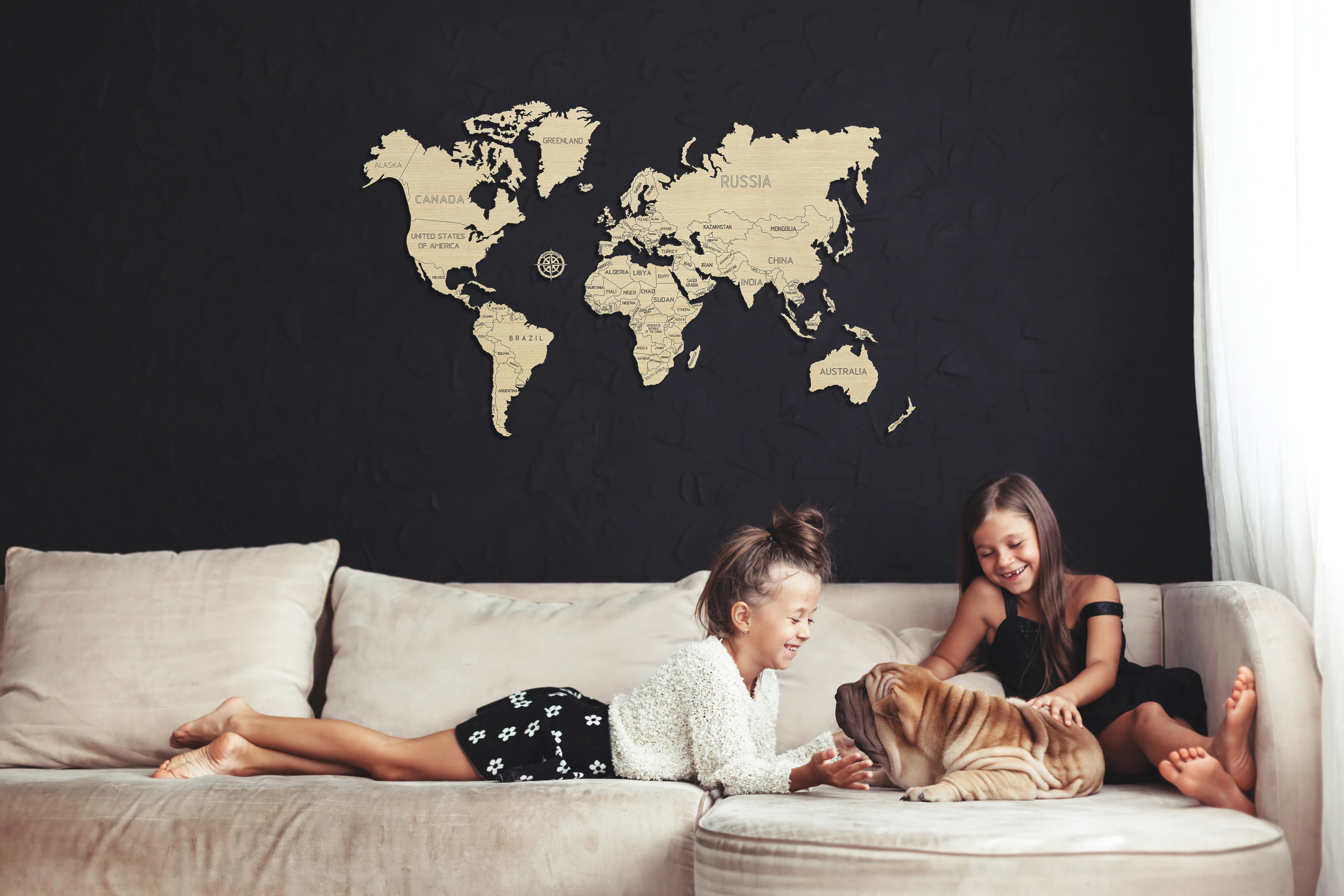 L World map 3D puzzles Living room