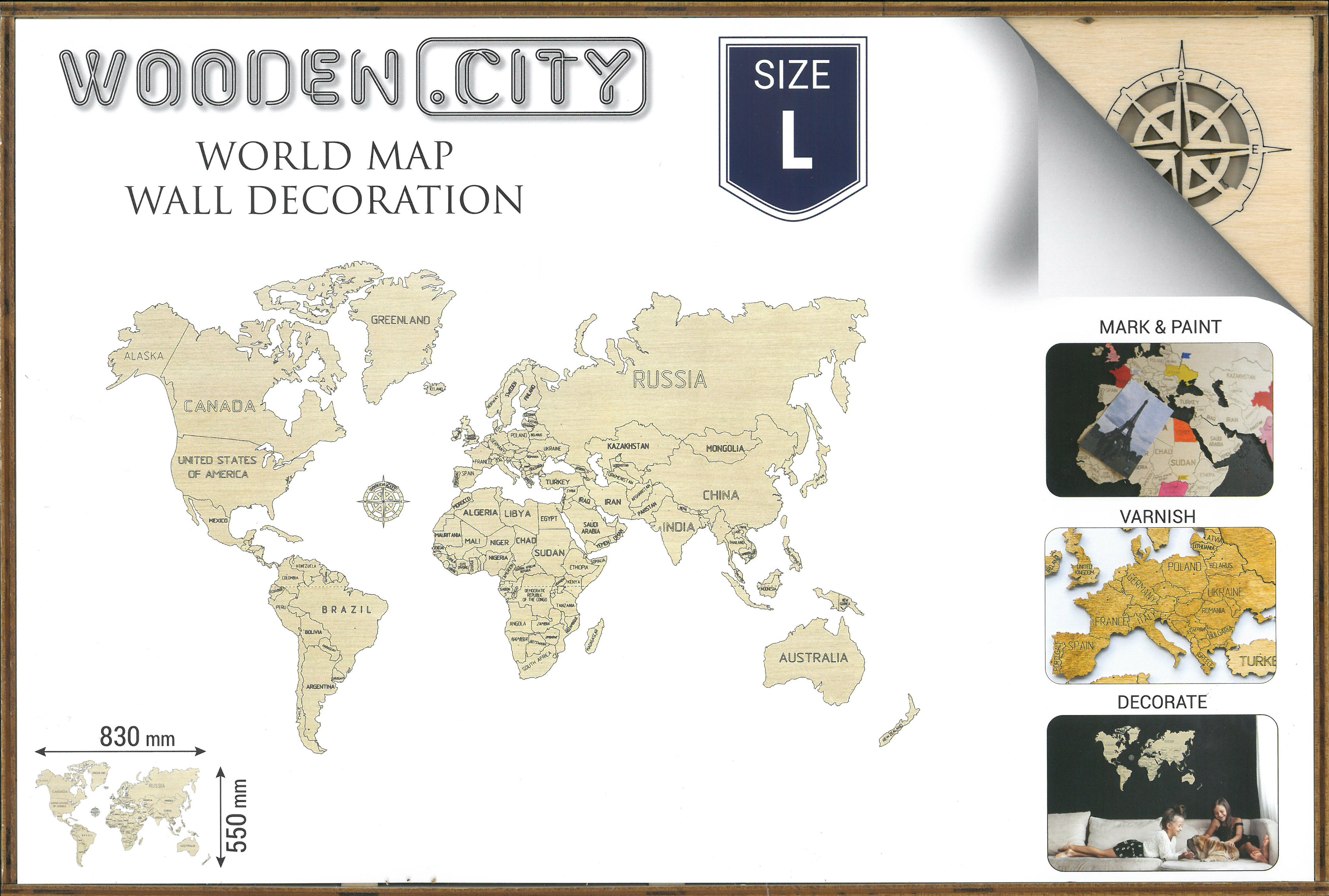 L World map 3D box