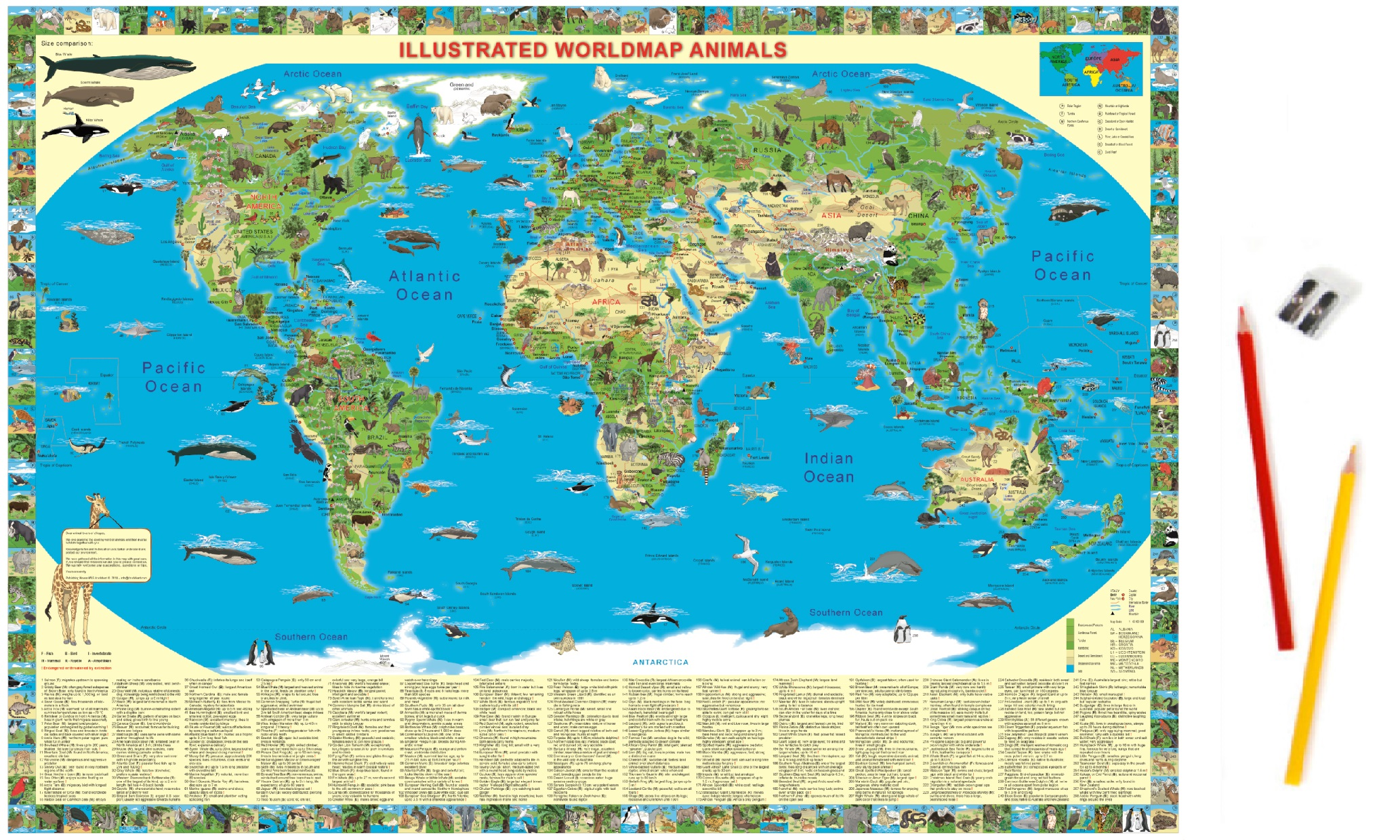World map Animals Deskpad