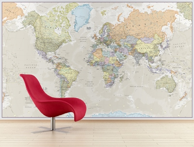 World Map Mural Classic